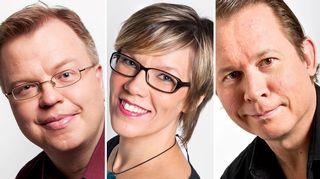 Ajantasan juontajat Aki Laine, Kati Lahtinen ja Jari Mäkäräinen.