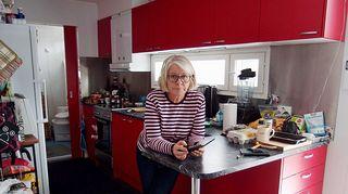 Päivi Strandén konttiasunnon keittiössä