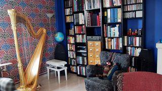 Laura Hynnisen harppu on kodissa kunniapaikalla