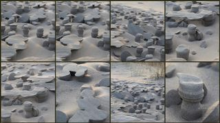 Onko kenelläkään tietoa, miten tällainen luonnonilmiö (hiekkaa meren rannalla) on voinut syntyä? Kuvattu marraskussa 2013 Hailuodossa. T. Heli Mattila