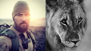 Kuvassa Jere Hietalan omakuva sekä kuva leijonasta.
