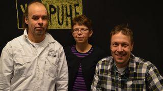 """Tage Lemström, Ritva Vallivaara-Pasto ja Mikko """"Peltsi"""" Peltola."""