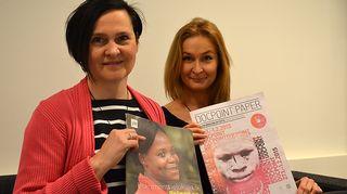 Kuvassa dokumenttielokuviin keskittyvän DocPoint-elokuvafestivaalin taiteellinen johtaja Ulla Simonen ja toiminnanjohtaja Ulla Bergström.