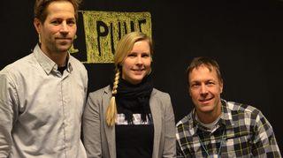 """Matti Hirvonen, Reetta Keisanen ja Mikko """"Peltsi"""" Peltola."""