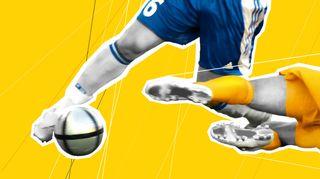 Jalkapalloilijoita keltaisella taustalla.