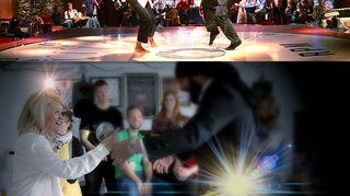 Kuvassa Päivi Räsänen ja Ali Jahangiri eläytyvät Pulp Fiction elokuvan Uma Thurmanin ja John Travoltan näyttelemään tanssikohtaukseen.