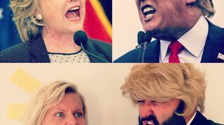 Paula Noronen esittää Hilary Clintonia ja Ali esittää Donald Trumpia
