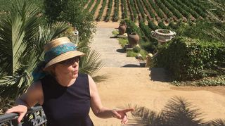 Nainen hattu päässä viinitilalla.