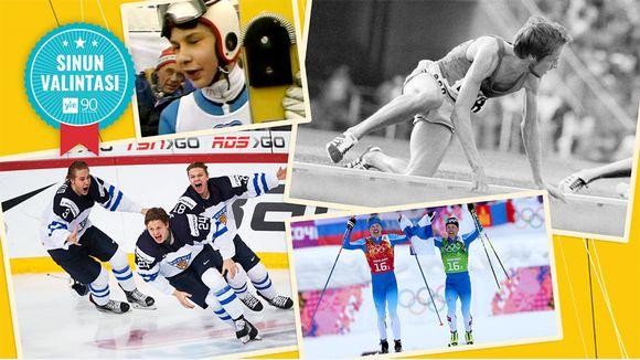 Kuvassa suomalaisia urheilun huippuhetkiä.