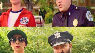 Rakel ja Ali esittävät Poliisiopiston hahmoja