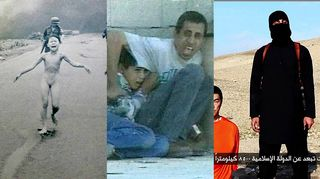 Kuvakollaasi. 1. kuvassa kuuluisa Napalmi tyttö Vietnamista. 2. kuvassa tulituksen keskelle joutuneet palestiinalainen isä ja poika, jotka yrittävät suojautua luodeilta painaitumalla seinää vasten. 3. kuvassa Isiksen taistelija mustiin pukeutuneena vierellään maassa polvillaan oleva mies oranssiin vanginasuun puettuna.