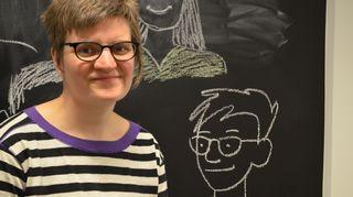 Kuvassa sarjakuva Finlandian voittaja Tiitu Takalo.