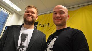 Jalkapallolehden toimittajat Iiro-Pekka Airola ja Mikko Isotalo