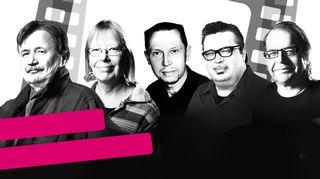 Elokuvamusiikin mestareita -sarjan toimittajat. Jake Nyman, Telle Virtanen, Jukka Mikkola, Pekka Laine ja Kalevi Pollari.