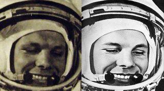 Valokuvien retusointi oli yleistä. RGANTD1-13526 ja teoksesta Golovanov 1978 (Iina Kohonen: Gagarinin hymy).