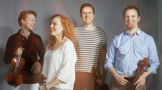 Meta4-kvartetissa soittavat Antti Tikkanen, Minna Pensola, Atte Kilpeläinen ja Tomas Djupsjöbacka. Kuva: Meta4