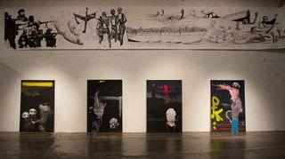 Art Tu Journey -näyttely Helsingin Kaapelitehtaalla: piirustus ja maalaus Hodhayfa Salif ja Muhaned Durubi.