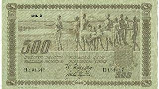 Eliel Saarisen suunnittelema 500mk seteli