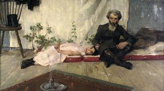 Helene Schjerfbeckin teos Lehtimajajuhla on vuodelta 1883.