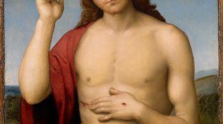 Kansallismuseon Renessanssi. Nyt - Rafaelista Tizianiin -näyttely esittelee renessanssi-mestareita. Kuvassa Rafaelin Siunaava Kristus Vapahtaja.