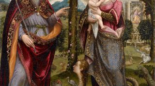 Kansallismuseon Renessanssi. Nyt - Rafaelista Tizianiin -näyttely esittelee renessanssi-mestareita. Kuvassa Luca Mombellon Synnitön sikiäminen ja Taivaan Isä.