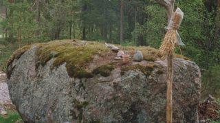 Tämän voimakiveni löysin tuosta viereisestä metsästä heti tänne . muuutettuamme.Paikalle olitiin vuosia sitten rakentamassa puhelinmastoa, jonka tieltä kivi oli tarkoitus räjäyttää. Onneksi sain työnjohtajan ymmärtämään kiven merkityksen minulle. Masto paikkaa siirrettiin sitten piirun verran ja kivi sai jäädä paikoilleen. Kivellä ajattelen rakkaitani ja selvitän ajatuksiani. Kivi kuvastaa myös sitä, miten tärkeä rooli luonnolla ja erityisesti metsällä on arkeeni.