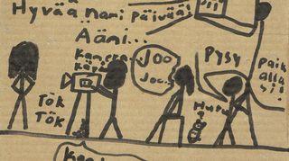 """""""Yritin jossain vaiheessa pitää karkkipäivää ja tämä tyttären piirustus oli mukana yhdessä namipäivän pussissa."""""""