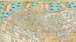 Ptolemaioksen maailmankartan Ulmin painos vuodelta 1482. Yksityiskohta.
