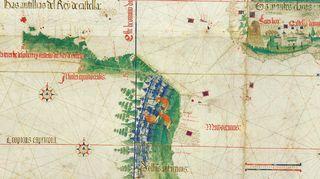 Cantinon planisfääri vuodelta 1502. Yksityiskohta.