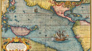 Abraham Orteliuksen Tyynenmeren kartta vuodelta 1589.