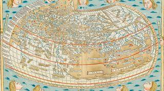 Ptolemaioksen maailmankartan Ulmin painos vuodelta 1482.