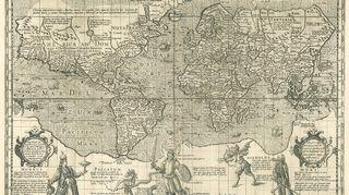 Jocodus Hondiuksen Kristityn ritarin maailmankartta vuodelta 1596