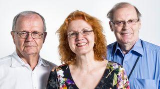 Tuomo Pekkanen (vas.), Virpi Seppälä-Pekkanen ja Reijo Pitkäranta.