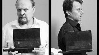 Radioteatteri esittää: Paaria. Kuvassa Hannu-Pekka Björkman ja Tobias Zilliacus.