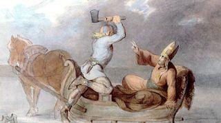 Lalli surmaa Henrikin. Maalaus CA Ekman 1854.