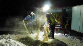 Talvella työskennellään hyvän aikaa varhaisen aamun pimeinä tunteina, kun valmistellaan talvinuottausta.