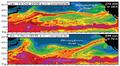 Grafiikka: Esimerkkejä vesihöyryjoen näkymisestä sääsatelliitin yhdistelmäkuvissa