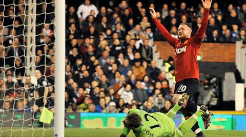 Wayne Rooney teki maalin David Stockdalen taakse
