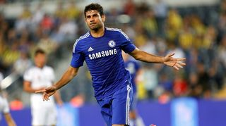 Chelsean Diego Costa tuulettaa maaliaan.