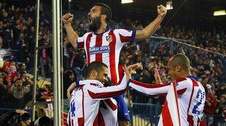 Atletico Madridin pelaajat juhlivat maalia