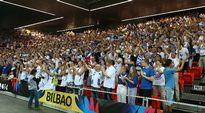 Suomen fanit täyttivät katsomon Bilbaossa.