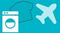 Pesukone, paita ja lentokone.
