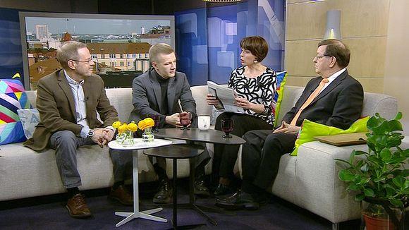 Pekka Ervasti, Matias Turkkila ja Paavo Väyrynen Aamu-tv:n vieraina.