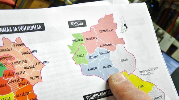 Kainuun kuntakartta Suomen Kuvalehden sivuilla.