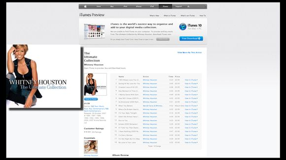"Houstonin kokoelma-albumi ""The Ultimate collection"" iTunes-sivustolla."