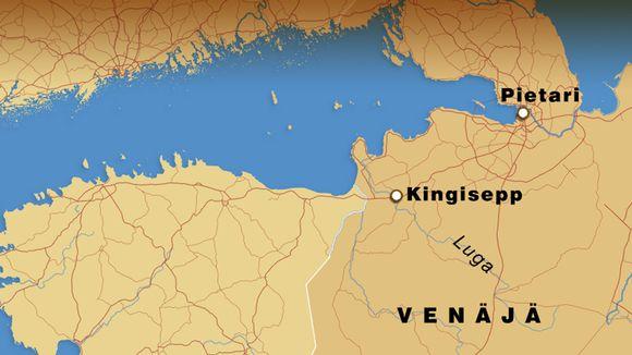 Kartta jossa Luga-joki
