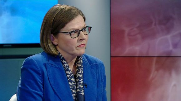 Heidi Hautala speaking on Yle television.
