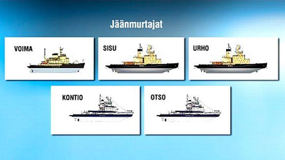 Jäänmurtajat Voima, Sisu, Urho, Kontio ja Otso.