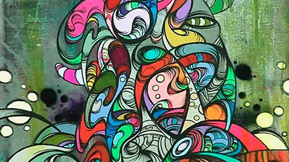 Lähikuva graffititaiteilija Ghostin teoksesta.