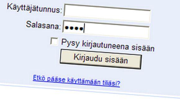 Ruutukaappaus sähköpostipalvelun sisäänkirjautumisnäkymästä.